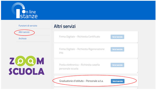 Controllo graduatorie istanze on line