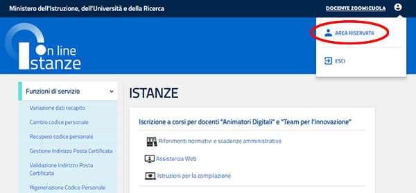 Area riservata Istanze on Line