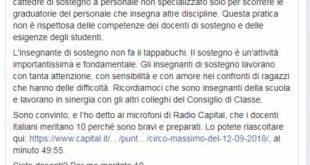 Bussetti su Facebook: insegnante di sostegno non fa il tappabuchi