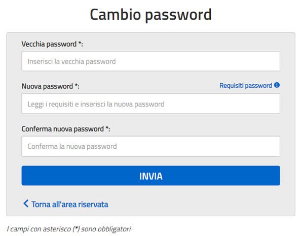 Cambio password Istanze on Line