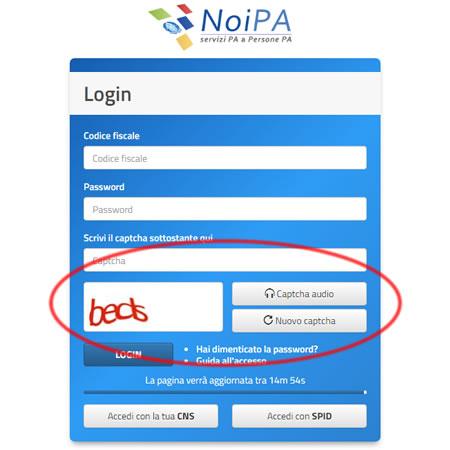 Accesso NoiPa captcha