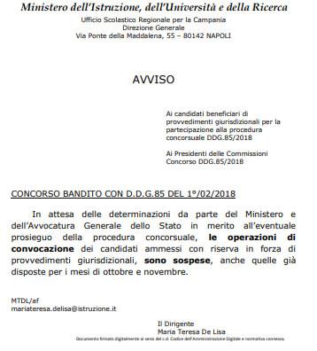 Nota USR Campania concorso docenti