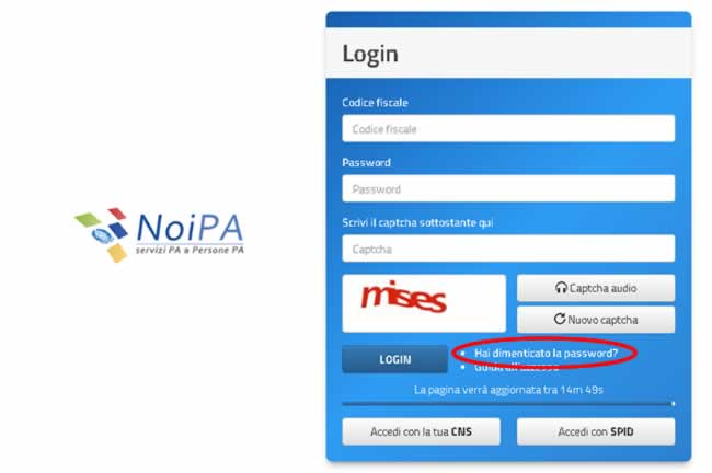 Password dimenticata su NoiPa