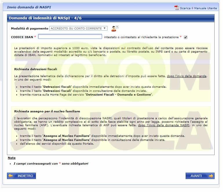 Domanda di indennità NASpI 4/6 - Metodo di pagamento