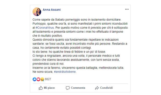 Anna Ascani positiva al Coronavirus
