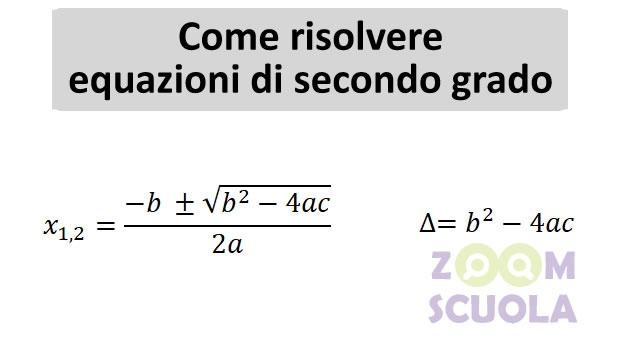 Come risolvere equazioni di secondo grado